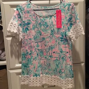 """Lily Pulitzer NWT Hayes Top, """"Colorful Camelflage"""""""